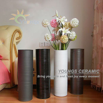Asia Tall Ceramic Cylinder Shape Modern Floor Vases Lots Of Colours