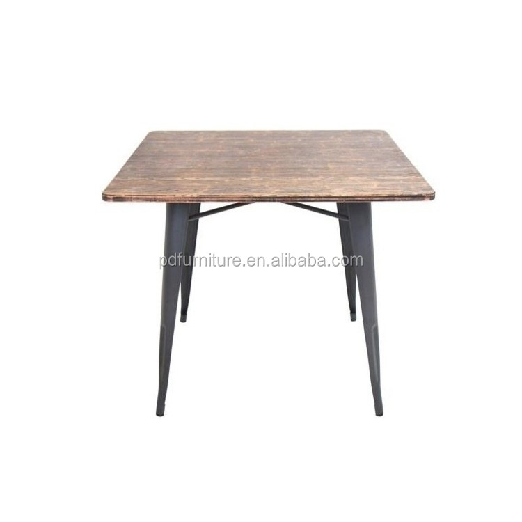 European style wood top small dining table industrial vintage metal table