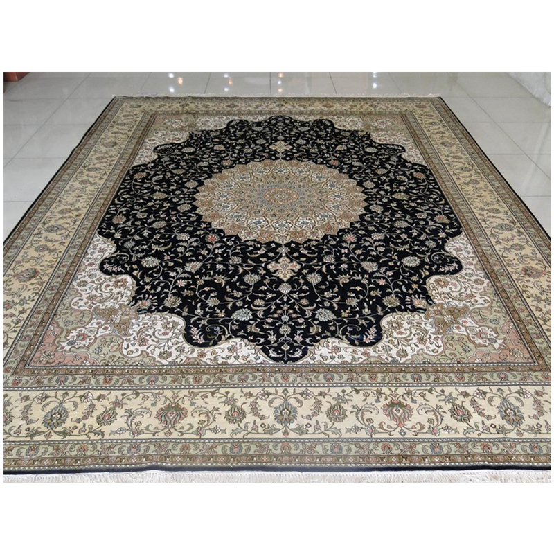 Retro Design Persian Make Obeisance Drawing Room 100% Nature Silk Hand Manual Luxury Carpet For 5 Star Hotel