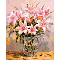 Diy Nordic Modern Posters And Prints Pink Flower And Vase Hand Oil Painting Canvas On Canvas Art Wall Picture
