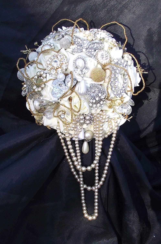 b801b4913 Get Quotations · cascade brooch bouquet, gold wedding bouquet, gold brooch  bridal flowers, vintage jewelry bouquet