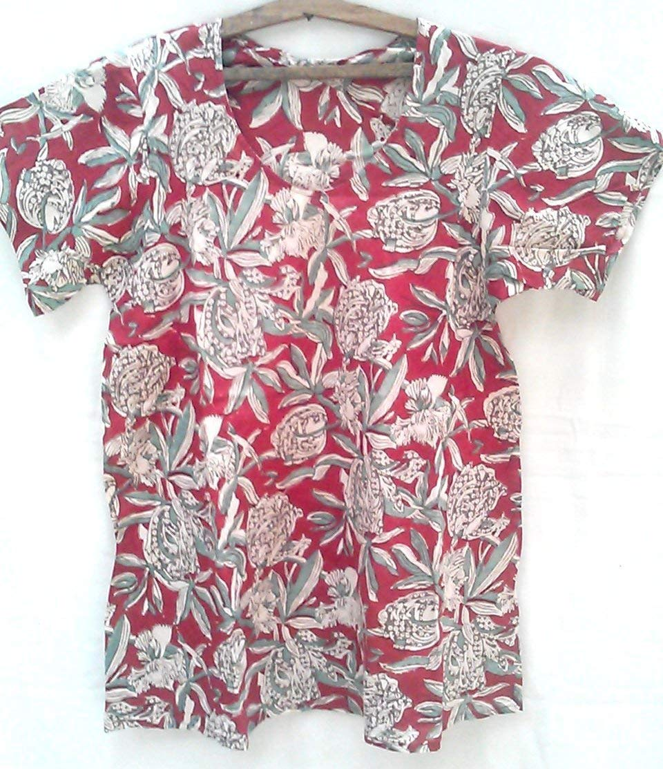 cc2a81f09c2 Red & Celadon Tulips Floral Anokhi Hand block print Indian cotton Bias Tunic  Top Blouse