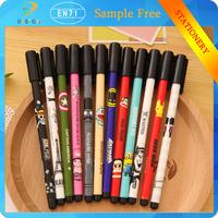 Korean style free samples Lovely printing 0.38mm Diamond writing point black ink cartoon gel pens for school supply