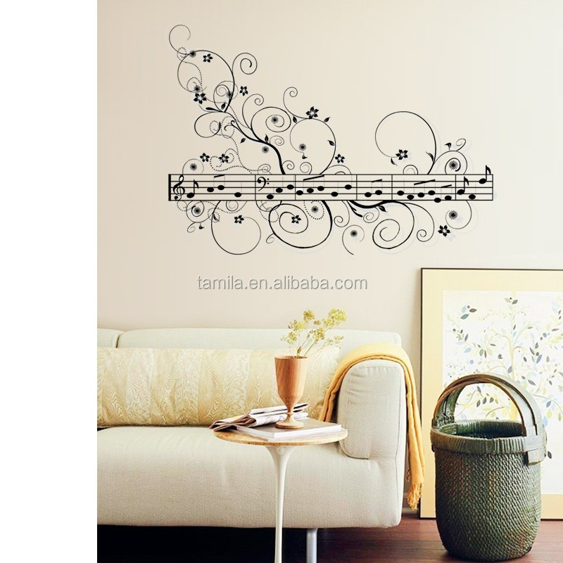 Black rhythm music note wall stickers removable vinyl wall decal Music Room decorations Wall Art decals