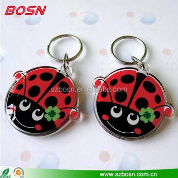 Ladybug shape customized acrylic keychain lucite Perspex key tag wholesale 6418a66e5e36