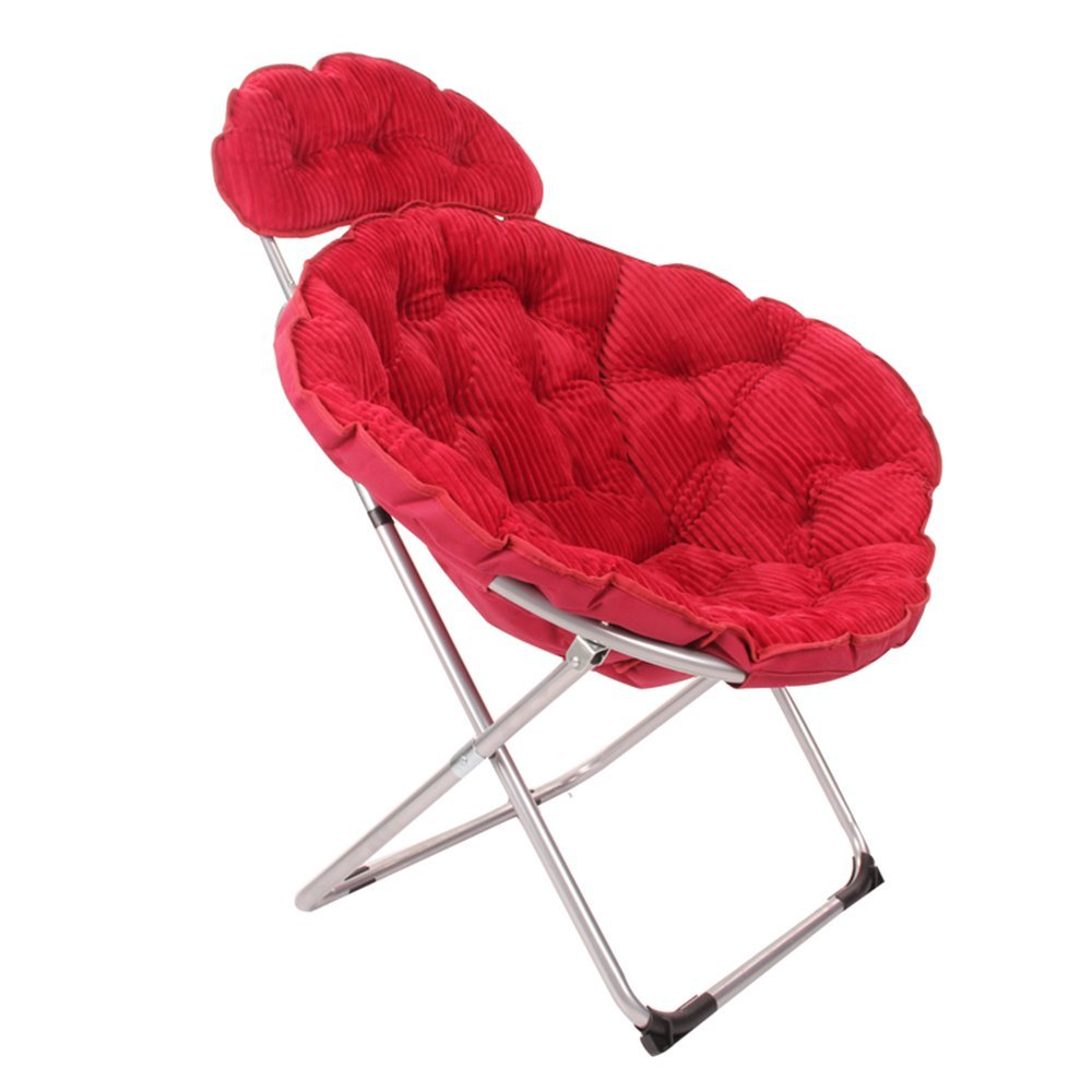 Folding chair / moon chair / lazy chair / lunch break deck chair / backrest / sun chair / round folding chair / casual home computer chair /Four colors available ( Color : Wine red )