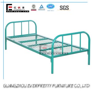 Attractive Design Green Color Single Size Metal Bed with Metal Net Platform