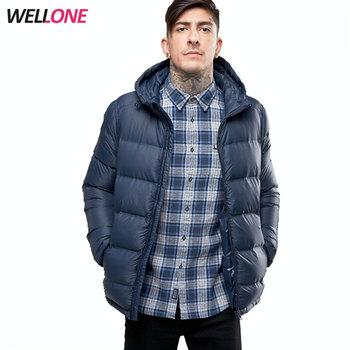 61ab003c837bb Wellone inverno caldo piuma d oca ripieno soffio imbottito blu poliestere  uomini personalizzata giacca trapuntata