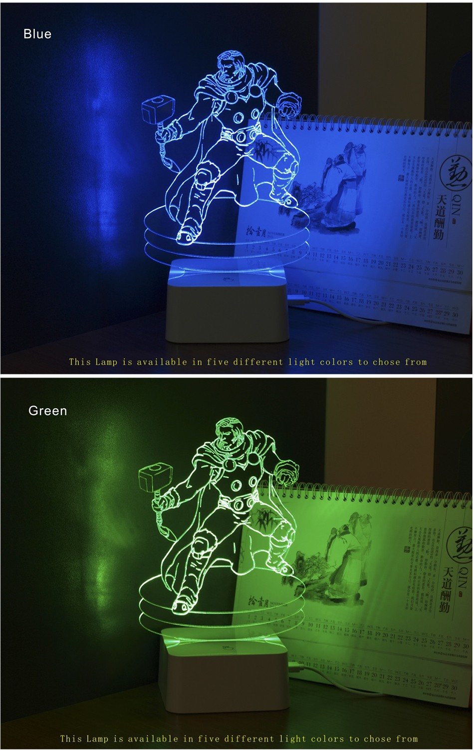 Christmas Xmas Holiday Gifts for Thor 3d Led Night Lights Touch Controller Table Lamps as Child Besides Lamp (4)
