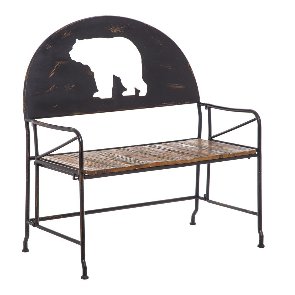 Cape Craftsmen Metal Lodge Inspired Bench with Wooden Plank Seat