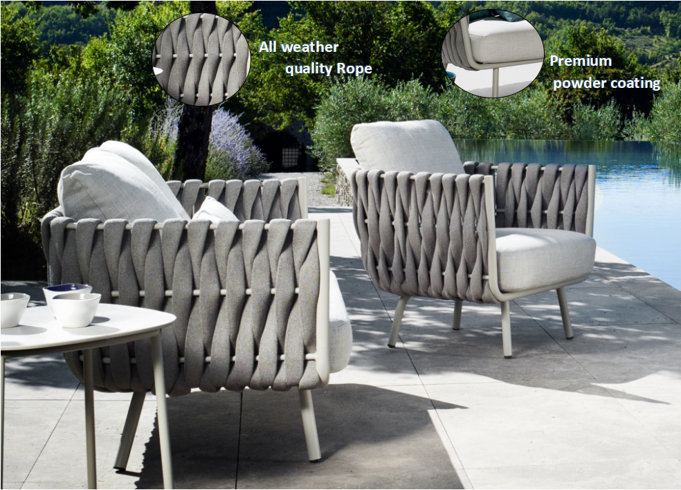 2019 modern leisure waterproof garden balcony terrace woven rope table and chairs Patio aluminium dining outdoor furniture