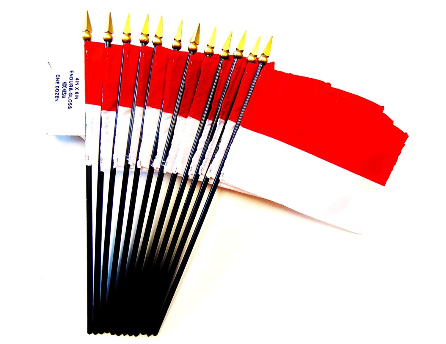 "MADE IN USA!! Box of 12 Indonesia 4""x6"" Miniature Desk & Table Flags; 12 American Made Small Mini Indonesian Flags in a Custom Made Cardboard Box Specifically Made for These Flags"