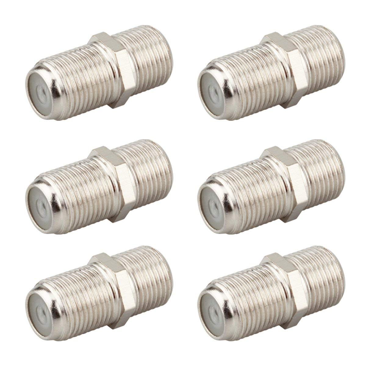 KOSMA (6-Pack) F-Type RG6 Female ot Female Coax Cable Adapter Connector for Coaxial Video Cables Extension