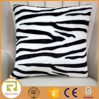 Wholesale 100% Polyester zebra print fur fluffy cushion