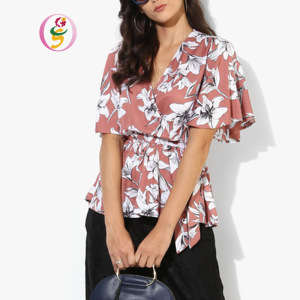 fashion chiffon V-neck short bell sleeve ladies tops Flora digital printing V-Neck sexy Women blouses