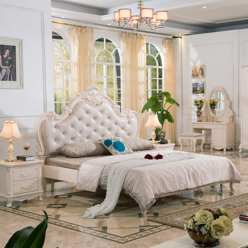 Good Pinkish/White Painted French Style Bedroom Sets And Country Style Panel  Furniture
