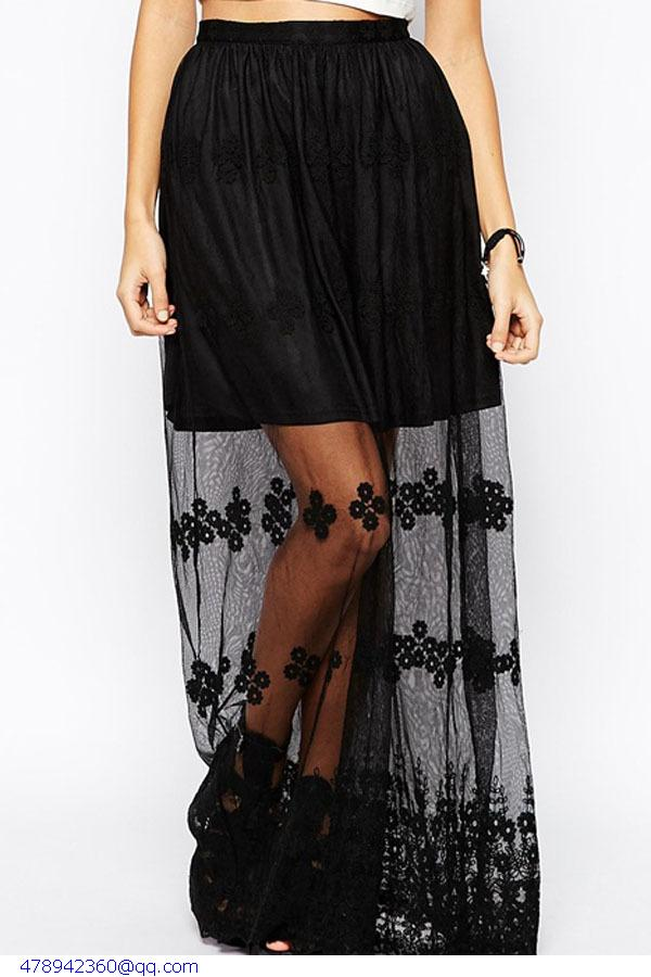 f5161cfcf5a Get Quotations · High Fashion Woman Skirts Summer 2015 Jupe Femme Sexy Women  Black Lace Glamorous Sheer Embroidered Long