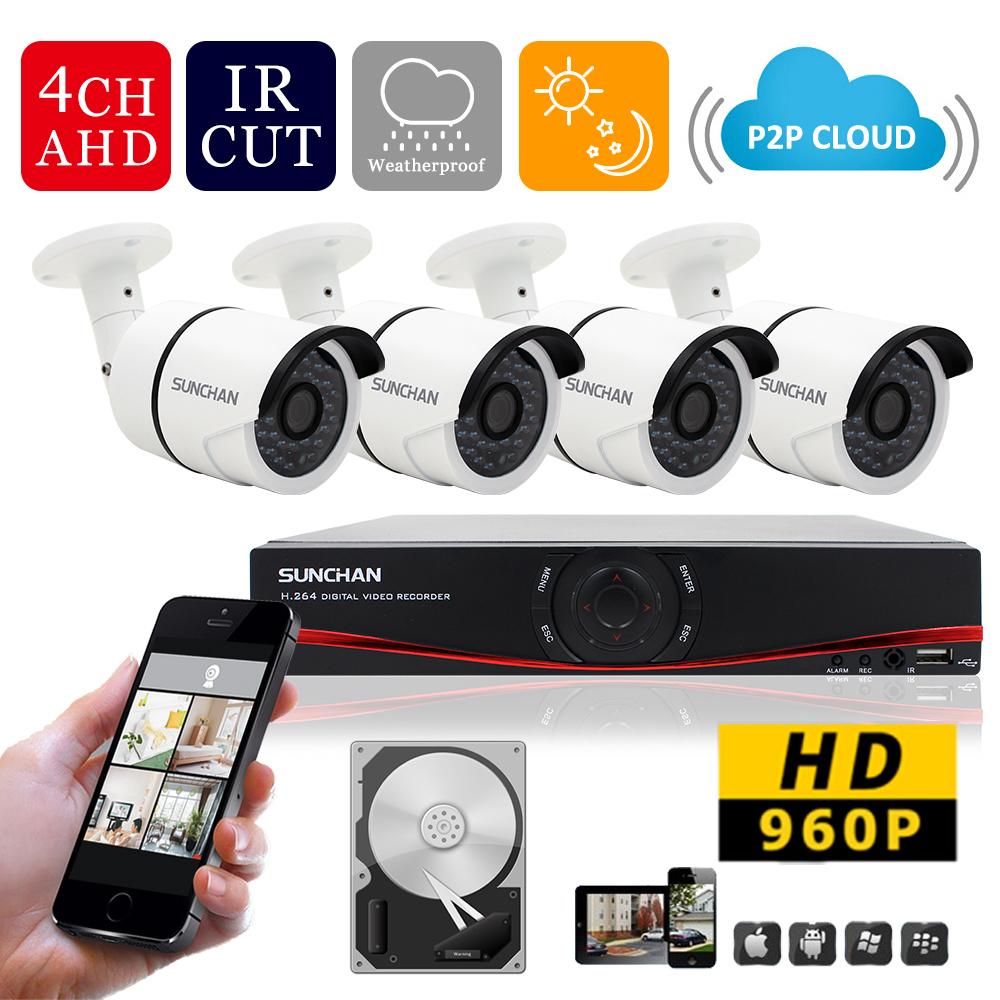 SunChan HD 1080P HDMI 4CH Full 720P Realtime Security  AHD DVR CCTV Kit  1500TVL 960P AHD-M CCTV Security Camera System 1TB HDD