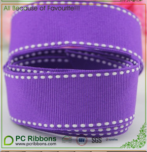 25mm purple saddle stitch grosgrain ribbon with white stitch