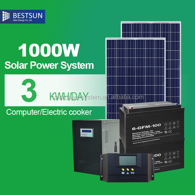 1000w solar panel installation kit Customized 1kw solar energy product with low maintenance battery