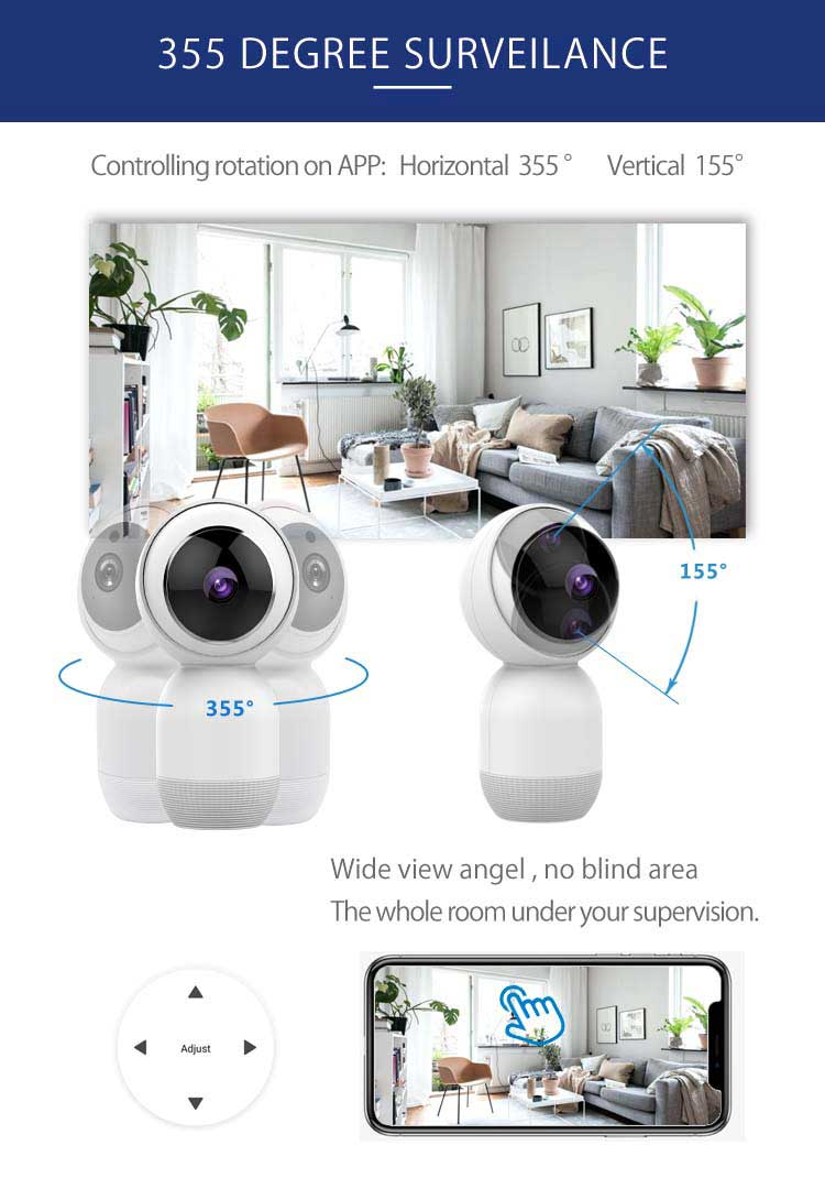 1080p wifi ip camera controlled by Tuya App monitor your home anywhere anytime