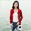 Women s solid color long sleeve o neck single breasted cardigan with five pointed star decor