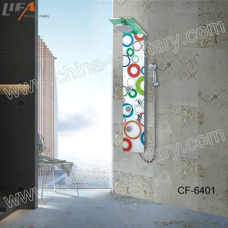 led light and high temperature alarm rainfall shower parts tempered glass shower panel CF-6401
