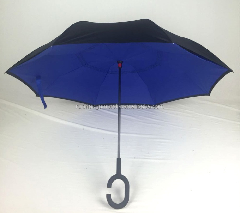 Upside-down cell phone handle umbrella royal bule color
