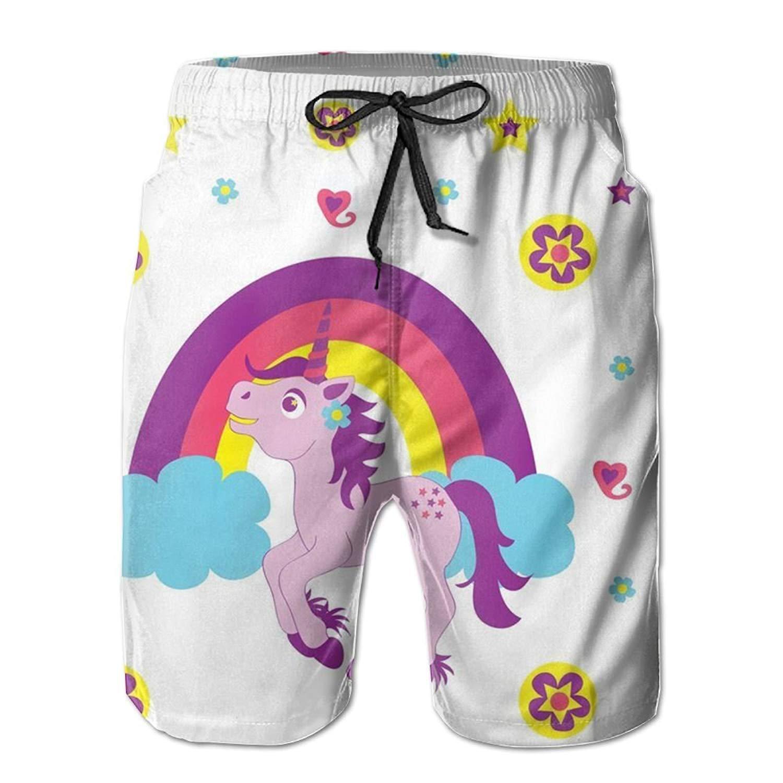 LORVIES Mens Pretty Flamingo Beach Board Shorts Quick Dry Swim Trunk