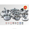 High quality wide edge 12pcs stainless steel cookware set