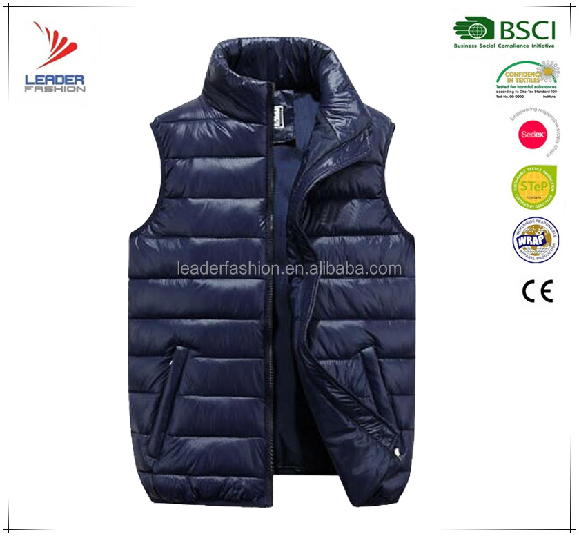 Men's custom outdoor duck down vest stand collar sleeveless jacket