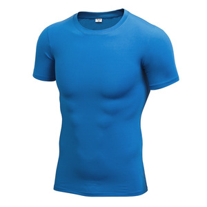 Men Gym Custom Polyester Spandex Compression Blank Dry Fit T Shirts