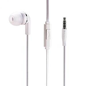 Premium Flat Wired Headset MONO Hands-free Earphone w Mic Single Earbud Headphone In-Ear [3.5mm] White for AT&T Kyocera DuraForce XD - AT&T LG Escape 2 - AT&T LG G Flex 2 - AT&T LG G Vista