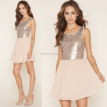 Oem Clothes Agent Summer Sexy Women Sequin Tight Fit Flare Dress