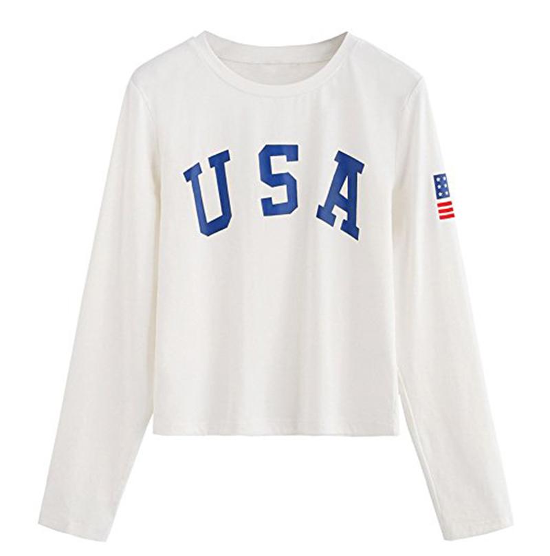 5a13c683b2f wholesale custom Sweaty Rocks cotton crop tops print USA letters long  sleeve crop top t shirt