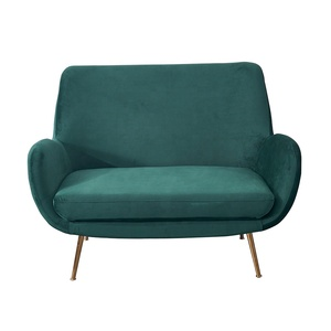 Luxury Modern Stainless Steel Furniture Living Room 2 Seater Green Velvet Loveseat Sofa