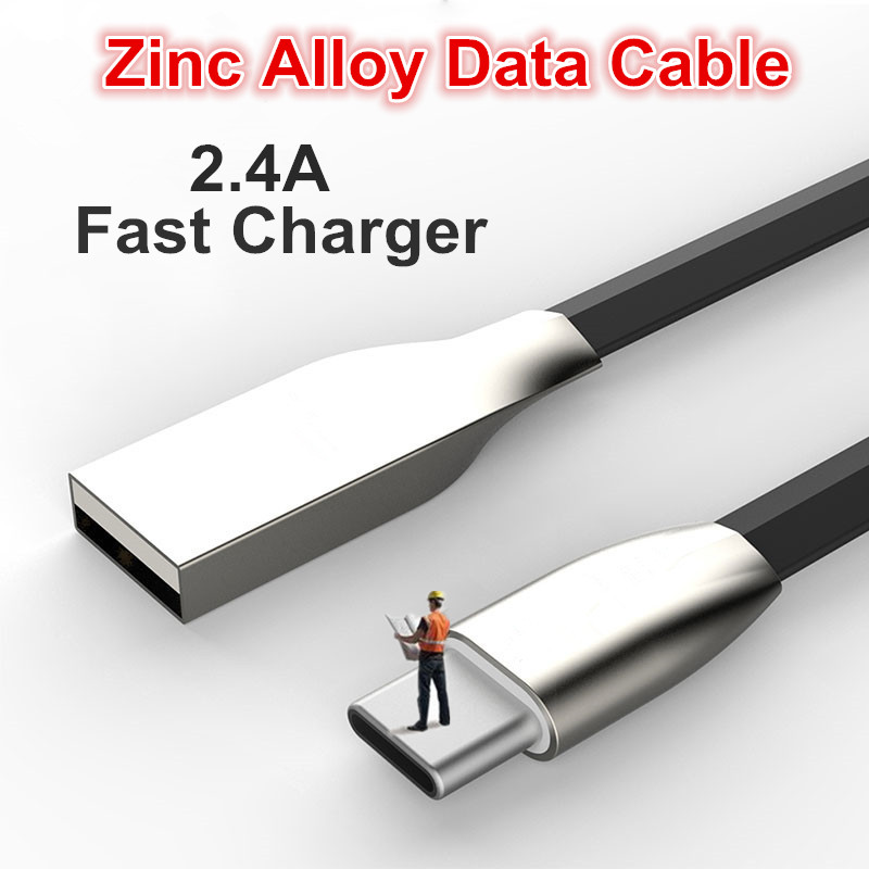 2017 New Zinc Alloy Data Cable for iPhone 8 7 6 plus Samsung LG Android Fast Charging Cable Micro USB Type C Data Cable