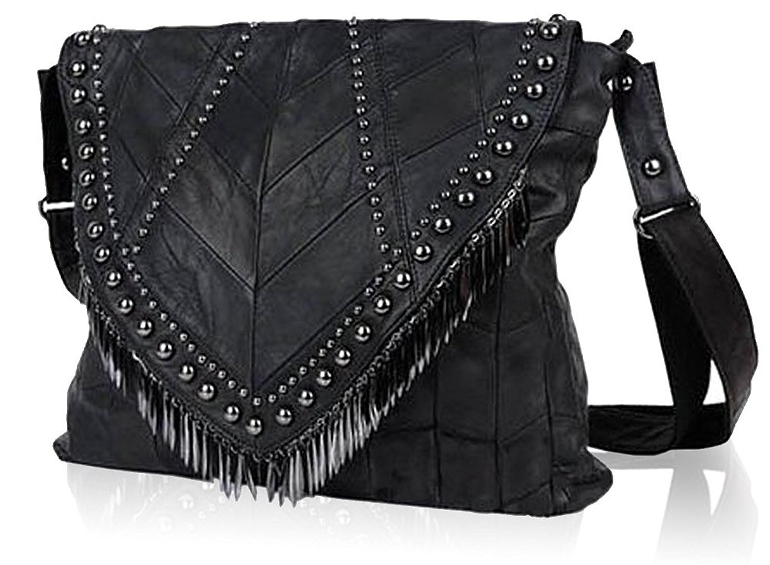 2c6322bff294 Get Quotations · ILISHOP Hot Sale Women s Lambskin Handbags Tassel Rivet  Studded Shoulder Bag Crossbody Bag