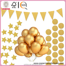 UMISS New Products Gold Paper Triangle Flags Circle Dots Twinkle Star Garland Hanging Party Decorations Supplier