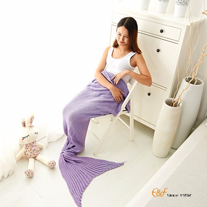 Wholesale Beautiful Knitted Soft Mermaid Tail Blanket For Adults or Kids