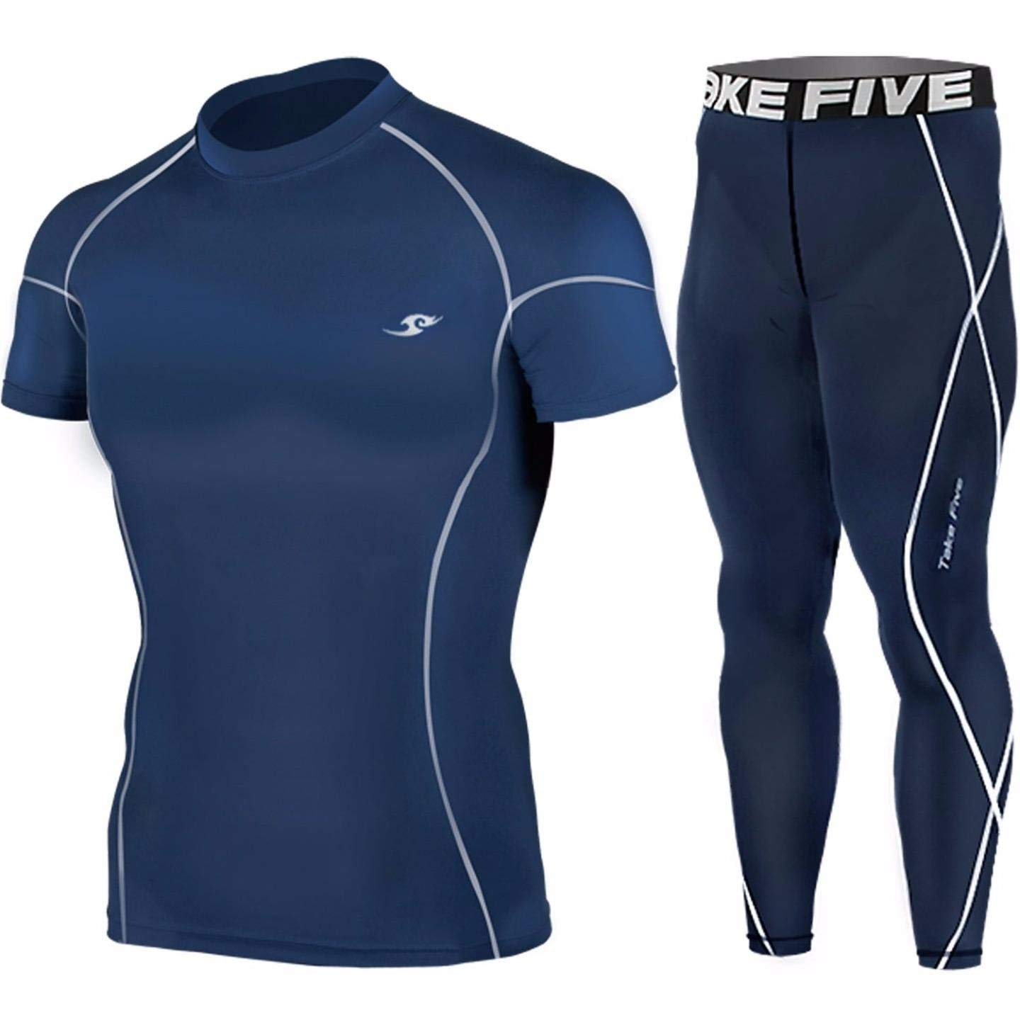 b582be81bf Get Quotations · New Navy Compression Under Base Layer Short Top & Pants  SET Skin Tights Mens