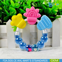 BPA Free Silicone Baby Teether with bell, Infant Training Bell Toys