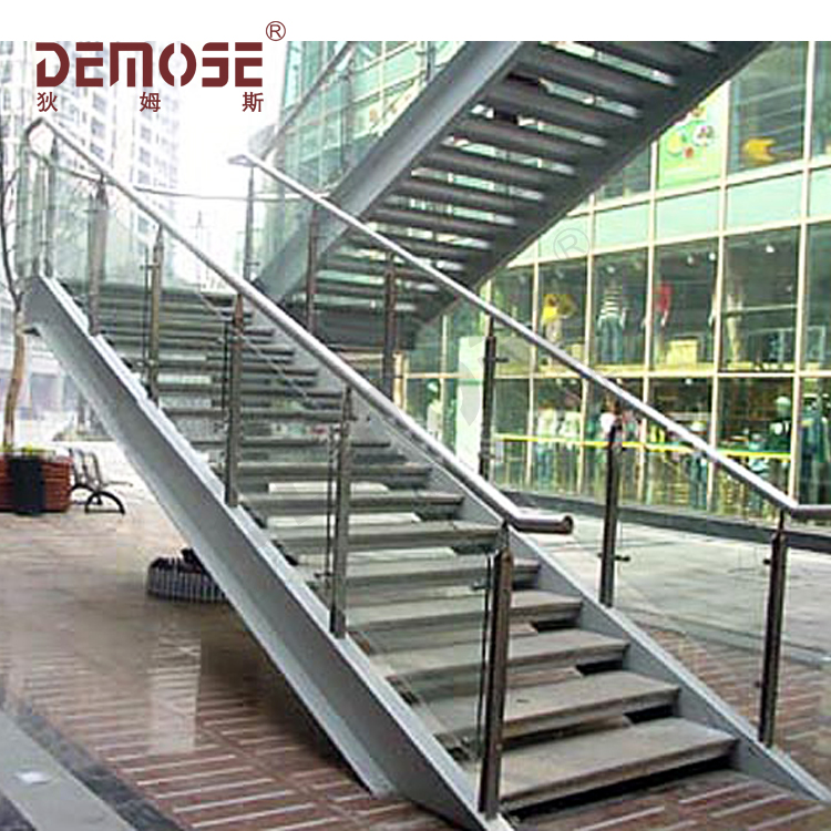 Connection Bridge Steel Staircase With Glass Railings
