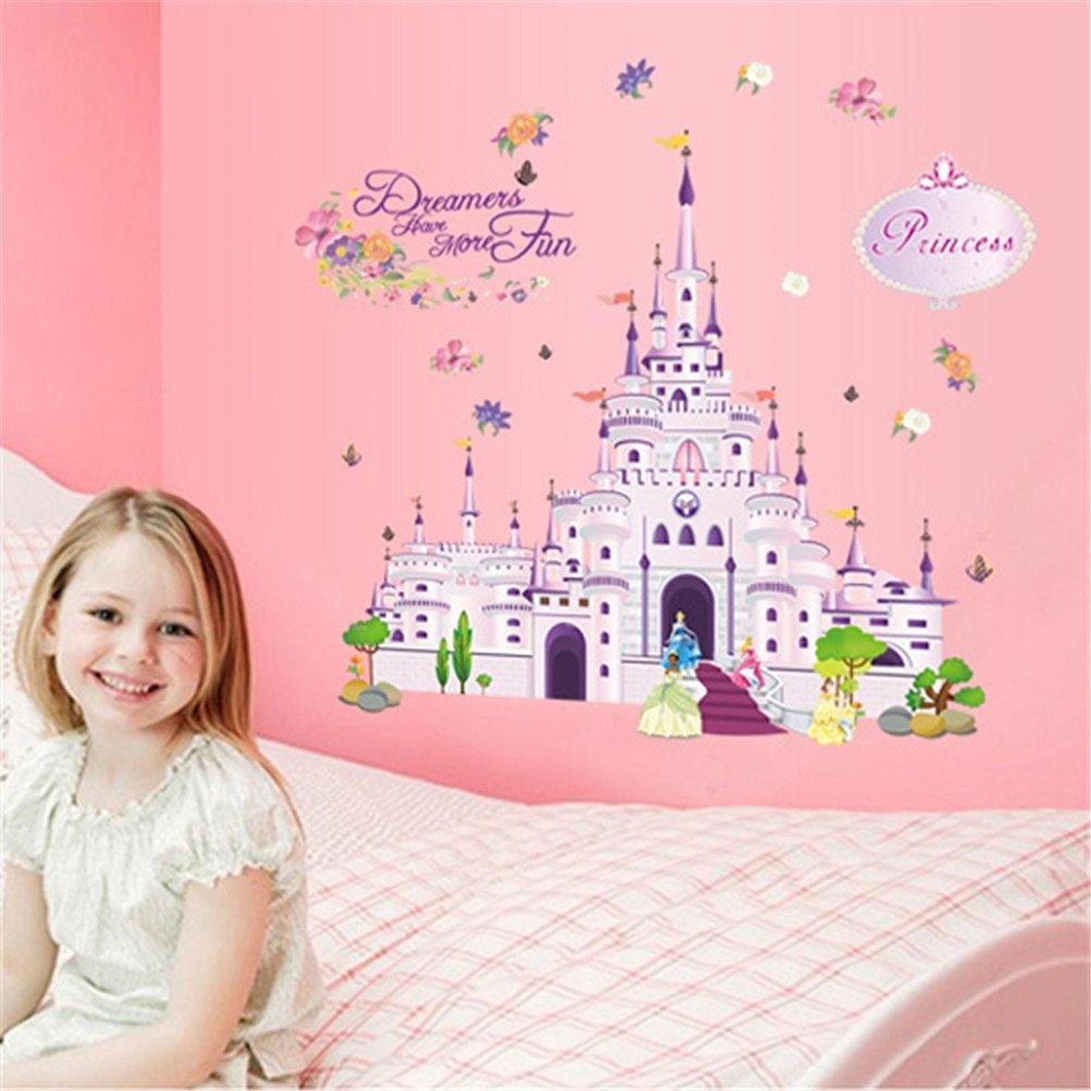 Kaymi Removable Wall Stickers Environmental PVC wall stickers cartoon girl room decor castle wall stickers
