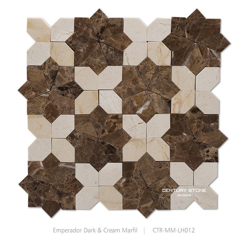 New Pattern Polished Flower Crema Marfil Mix Emperador Dark Marble Backsplash Mosaic Tiles