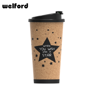 Customized logo printing straight-sided cork +PLA cork coffee mug