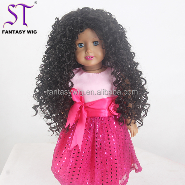 10-11 Doll Wig Distributor Long Black Kinky Curly 18 Inch Afro Doll Wig For American Girl Doll For Sale