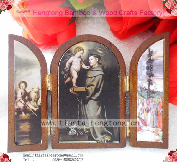 Printed religious Wood plaque/ religious album,religious icon,door shape tablet with saint pictures