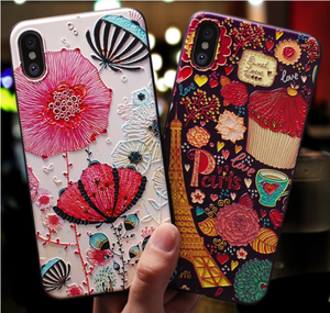 lovely carton embossed 3D phone case tpu for iPhone x xs case painting