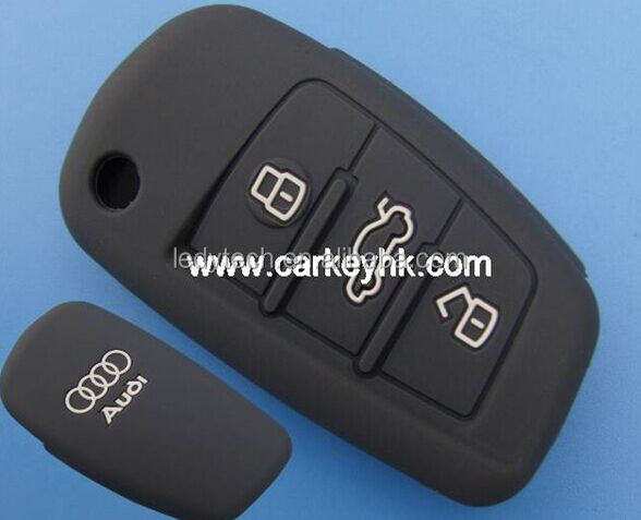 grey color Silicone car key cover 3 buttons flip key bag silicone case for remote control A13/A4L/A5/A6L/A8L/Q357/S567